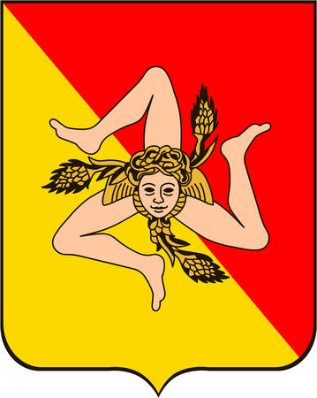 Coat of arms of Sicily is the largest island in the Mediterranean Sea. It constitutes an autonomous Region of Italy. Vector illustration 矢量图像