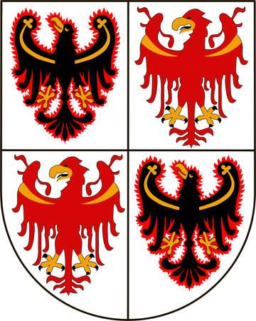 Coat of arms of Trentino-Alto Adige Sudtirol is an autonomous region in Northern Italy. Vector illustration