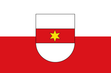 Flag of Bolzano is the capital city of the province of South Tyrol in northern Italy. Vector illustration