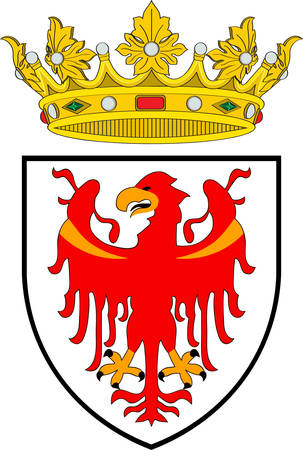 Coat of arms of South Tyrol is an autonomous province in northern Italy. Vector illustration Illustration