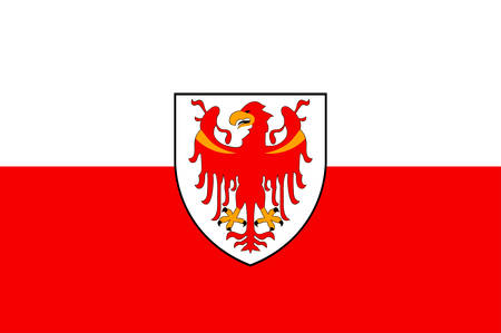 Flag of South Tyrol is an autonomous province in northern Italy. Vector illustration Illustration
