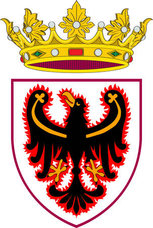 Coat of arms of Trentino, officially the Autonomous Province of Trento, is an autonomous province of Italy. Vector illustration