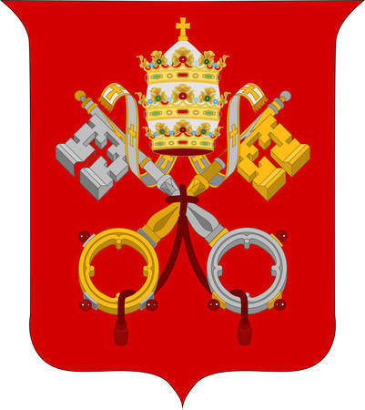 Coat of arms of Vatican City officially Vatican City State  is a walled enclave within the city of Rome. Vector illustration