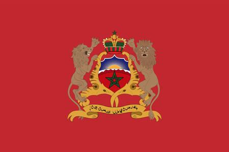 La bandera de Marruecos, oficialmente conocida como el Reino de Marruecos, es un estado soberano unitario islámico ubicado en la región del Magreb en el norte de África. Ilustración vectorial