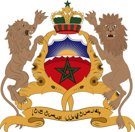 Coat of arms of Morocco officially known as the Kingdom of Morocco is an Islamic unitary sovereign state located in the Maghreb region of North Africa. Vector illustration Vektorové ilustrace