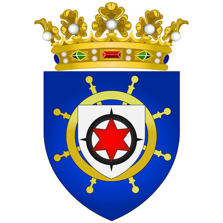 Coat of arms of Bonaire is an island in the Leeward Antilles in the Caribbean Sea. Special municipality of the Netherlands. Vector illustration
