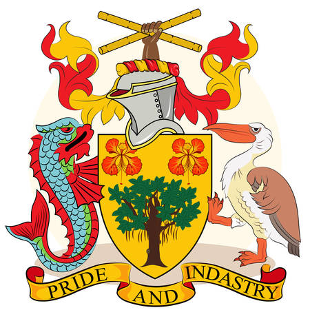 Coat of arms of Barbados is an island country in the Lesser Antilles of the West Indies, in the Caribbean region of North America. Vector illustration Illustration