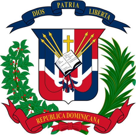 Coat of arms of Dominican Republic is a country located in the island of Hispaniola, in the Greater Antilles archipelago of the Caribbean region. Vector illustration