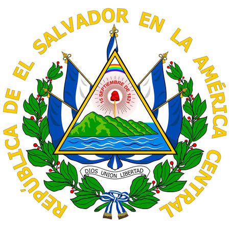 Coat of arms of Republic of El Salvador is the smallest and the most densely populated country in Central America. Vector illustration