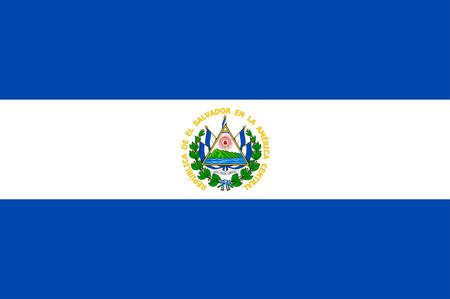 Flag of Republic of El Salvador is the smallest and the most densely populated country in Central America. Vector illustration Illustration