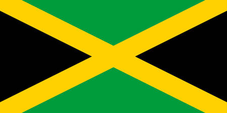 Flag of Jamaica is an island country situated in the Caribbean Sea. Vector illustration Illustration