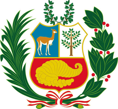 Coat of arms of Peru officially the Republic of Peru is a country in western South America. Vector illustration