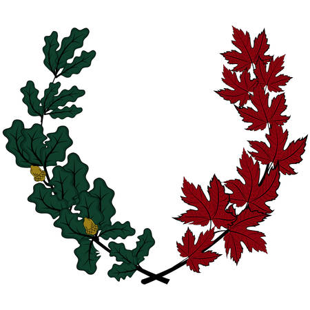Maple and oak wreath - symbol of victory and achievement. Design element for construction of medals, awards, coat of arms or anniversary logo. Vector illustration