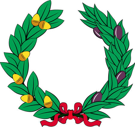 Olive and oak wreath - symbol of victory and achievement. Design element for construction of medals, awards, coat of arms or anniversary logo. Vector illustration Illustration