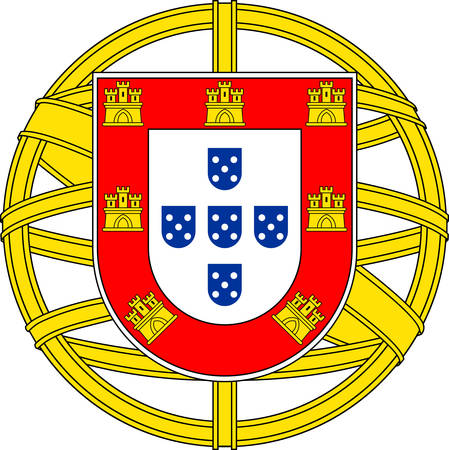 Coat of arms of Portugal is a country on the Iberian Peninsula, in Southwestern Europe. Vector illustration Banque d'images - 127601570