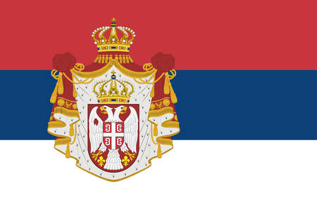 Flag of Serbia officially the Republic of Serbia is a sovereign state situated at the crossroads of Central and Southeast Europe in the southern Pannonian Plain and the central Balkans. Vector illustration