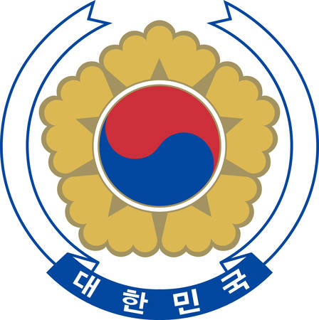 Coat of arms of South Korea officially the Republic of Korea is a sovereign state in East Asia, constituting the southern part of the Korean Peninsula. Vector illustration