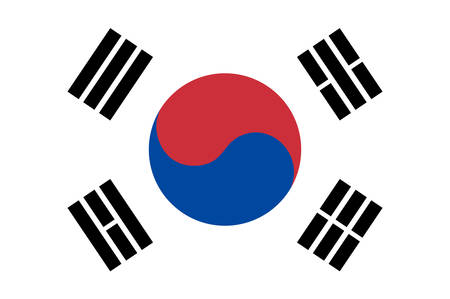 Flag of South Korea officially the Republic of Korea is a sovereign state in East Asia, constituting the southern part of the Korean Peninsula. Vector illustration