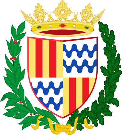 Coat of arms of Badalona is a municipality to the immediate north east of Barcelona in Catalonia, Spain. Vector illustration Ilustração