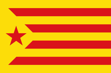 Flag of Estelada red, Catalonia is an autonomous community of Spain. Vector illustration
