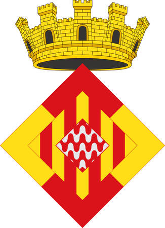 Coat of arms of Girona is a province in the northeastern part of the autonomous community of Catalonia of Spain. Vector illustration Ilustração