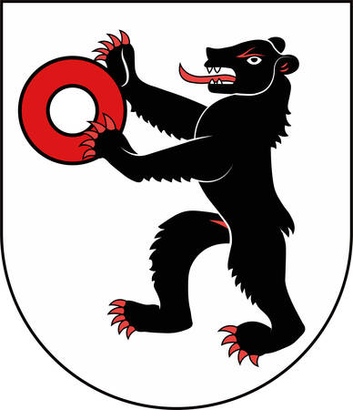 Coat of arms of Appenzell is a village a statistic town and the capital of the canton of Appenzell Innerrhoden in Switzerland. Vector illustration Banque d'images - 127601623