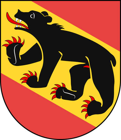 Coat of arms of Bern is the de facto capital of Switzerland. Vector illustration