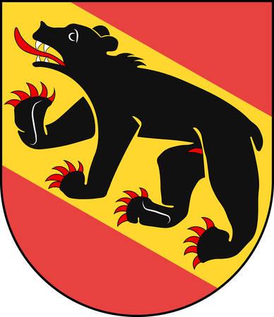 Coat of arms of Bern is the de facto capital of Switzerland. Vector illustration