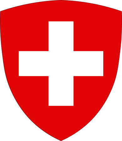 Coat of arms of Switzerland officially the Swiss Confederation, is a sovereign state in Europe. The federal republic is situated in Western-Central Europe. Vector illustration Ilustração
