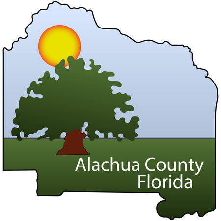 Coat of arms of Alachua County is a county in the U.S. state of Florida. Vector illustration Ilustração