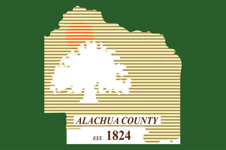Flag of Alachua County is a county in the U.S. state of Florida. Vector illustration Illustration
