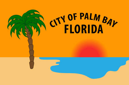 Coat of arms of Palm Bay is a city in Brevard County, Florida, USA. Vector illustration Banque d'images - 127601690