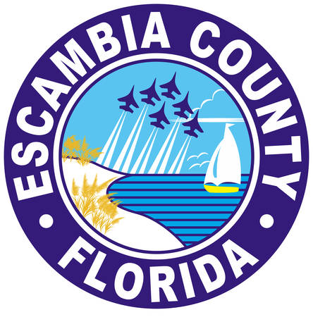 Coat of arms of Escambia County is the westernmost and oldest county in the U.S. state of Florida. Vector illustration