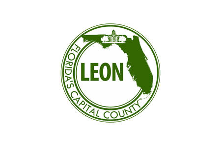 Flag of Leon County is a county located in the Panhandle of the U.S. state of Florida. Vector illustration