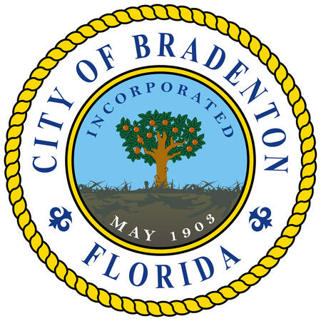 Coat of arms of Bradenton is a city in Manatee County, Florida, United States. Vector illustration Ilustração