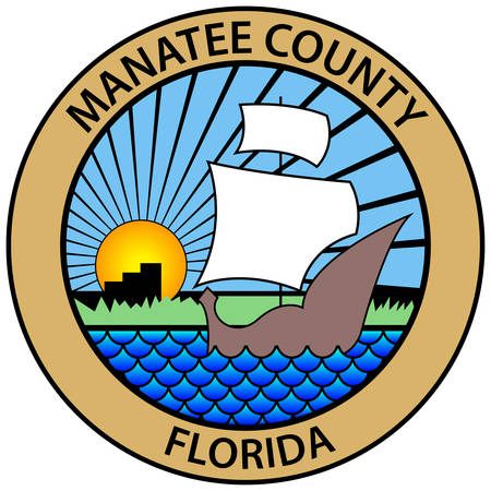 Coat of arms of Manatee County is a county in the U.S. state of Florida. Vector illustration