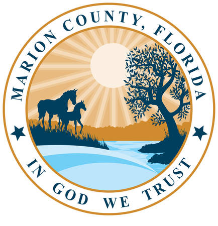 Coat of arms of Marion County is a county located in the U.S. state of Florida. Vector illustration