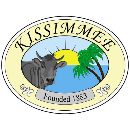 Coat of arms of Kissimmee is a city in Osceola County, Florida, United States. Vector illustration