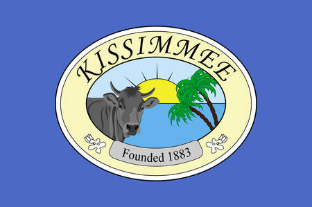 Flag of Kissimmee is a city in Osceola County, Florida, United States. Vector illustration