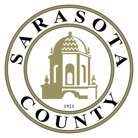 Coat of arms of Sarasota County is located in Southwest Florida on the Gulf Coast. Vector illustration