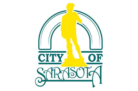Flag of Sarasota is a city in Sarasota County on the southwestern coast of the U.S. state of Florida. Vector illustration Ilustração