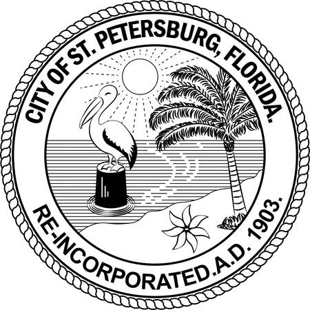 Coat of arms of St. Petersburg is a city in Pinellas County, Florida, United States. Vector illustration Illustration