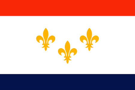 Flag of New Orleans is a consolidated city-parish located along the Mississippi River in the southeastern region of the U.S. state of Louisiana. Vector illustration