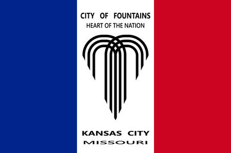 Flag of Kansas City in Missouri state of United States. Vector illustration