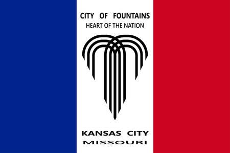 Flag of Kansas City in Missouri state of United States. Vector illustration