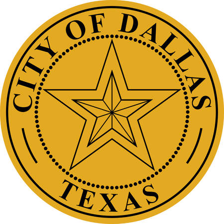 Coat of arms of Dallas is a city in the U.S. state of Texas. Vector illustration