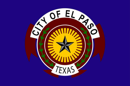 Flag of El Paso is a city in and the seat of El Paso County, situated in the far western corner of the U.S. state of Texas. Vector illustration
