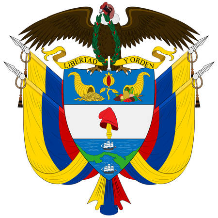 Coat of arms of Republic of Colombia is a sovereign state largely situated in the northwest of South America, with territories in North America. Vector illustration