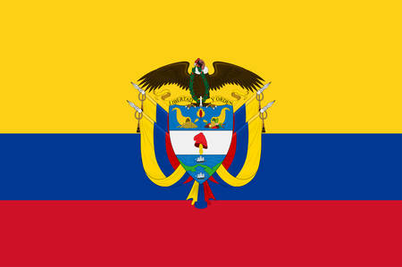 Flag of Republic of Colombia is a sovereign state largely situated in the northwest of South America, with territories in North America. Vector illustration 向量圖像