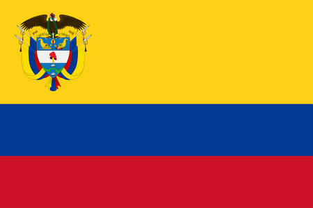Flag of Republic of Colombia is a sovereign state largely situated in the northwest of South America, with territories in North America. Vector illustration